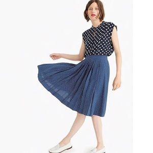 J. Crew Pleated Midi Skirt in Polka Dots